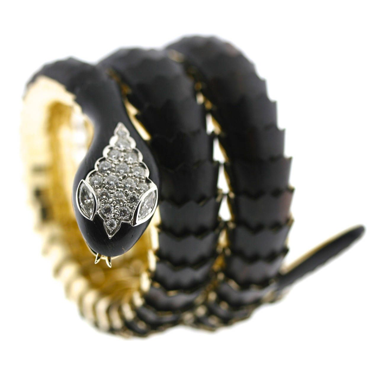 Illario Ebony Diamond Scaled Gold Coiled Serpent Bracelet