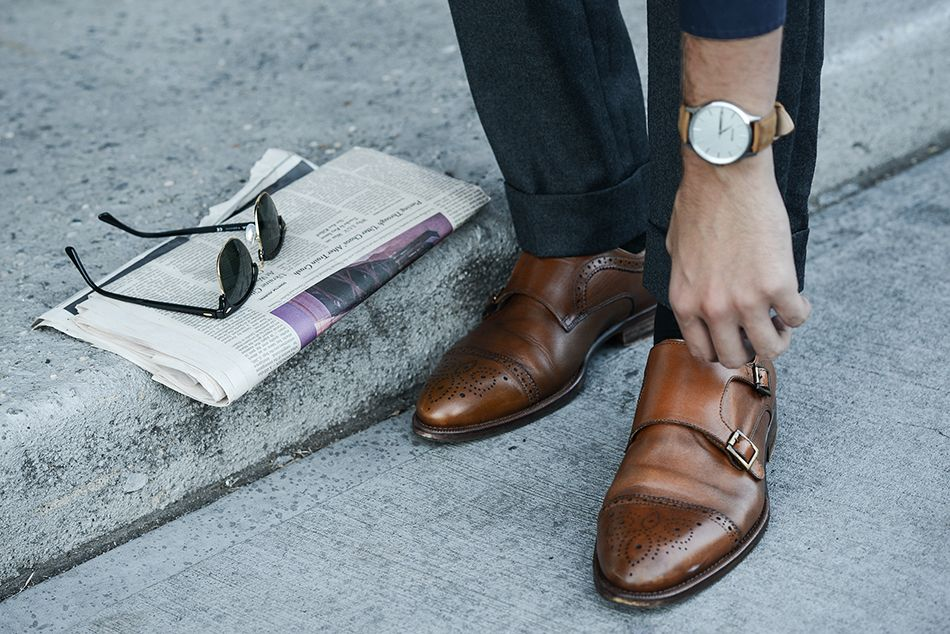 Vince Camuto Double Monk Strap shoes | MVMT watch | Rayban sunnies | feat. on http://iamgalla.com/2015/10/brick-by-brick-vince/