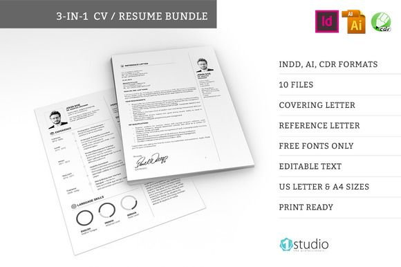3-in-1 Resume Bundle by 1studio on @creativework247 Resume - 3 resume formats