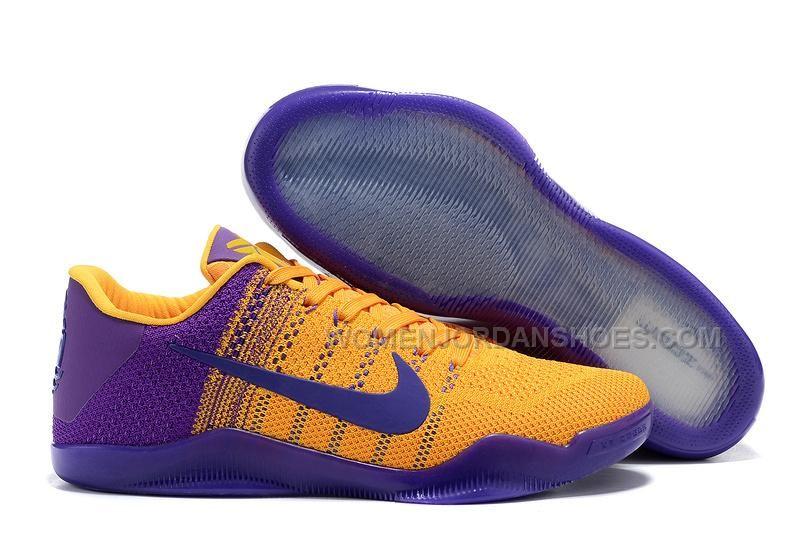 on sale d1a38 2a86c Cheap 2016 NBA Playoffs Kobe 11 Elite Bruce Lee Bright Maize Court Purple Basketball  Shoes For Men