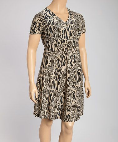 Look what I found on #zulily! Black & Beige Geometric Surplice Dress - Plus #zulilyfinds