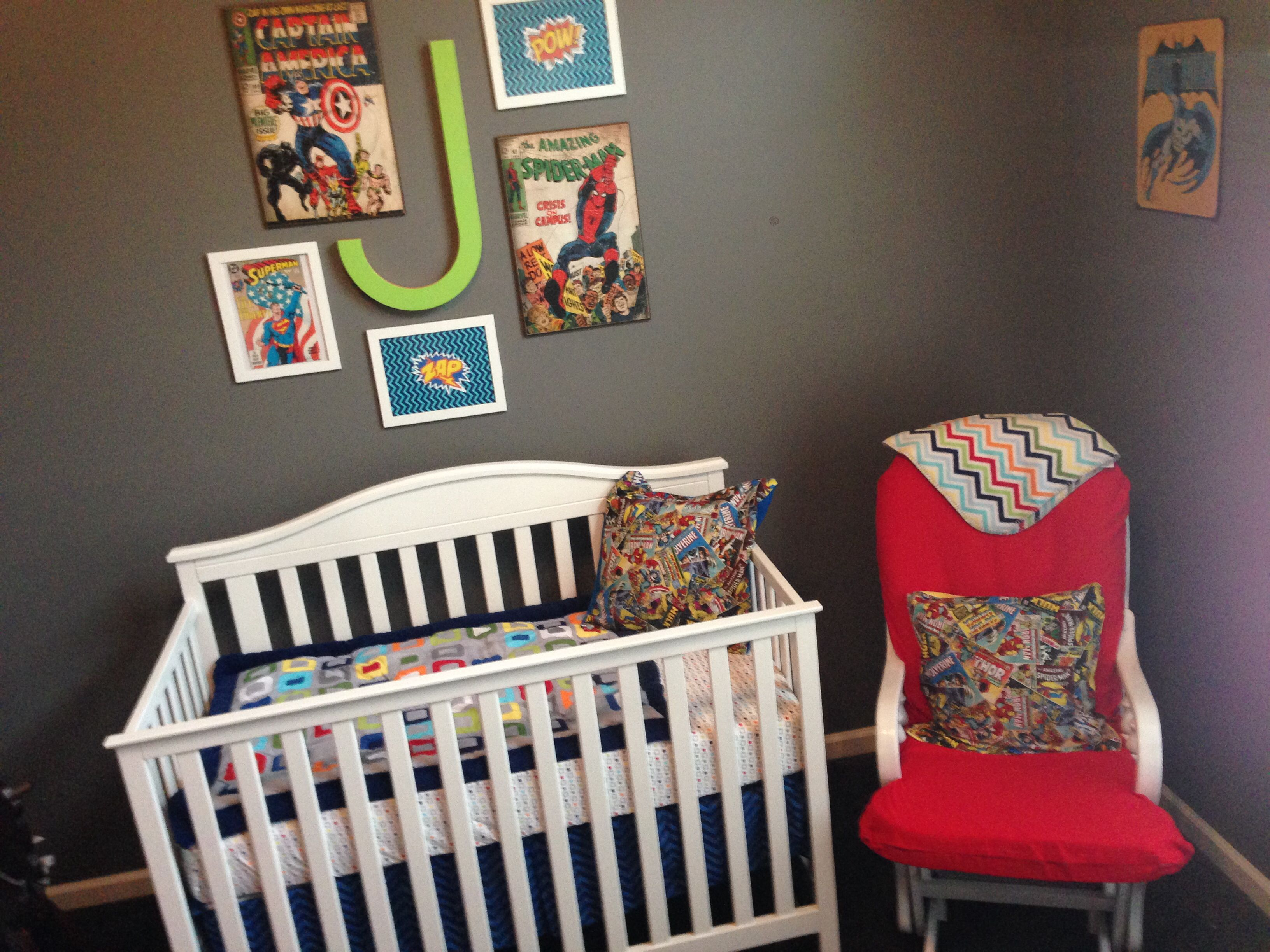 Superhero Nursery- Repainted And Recovered Glider; Ottoman, Bedding, And Crib From Target; Large