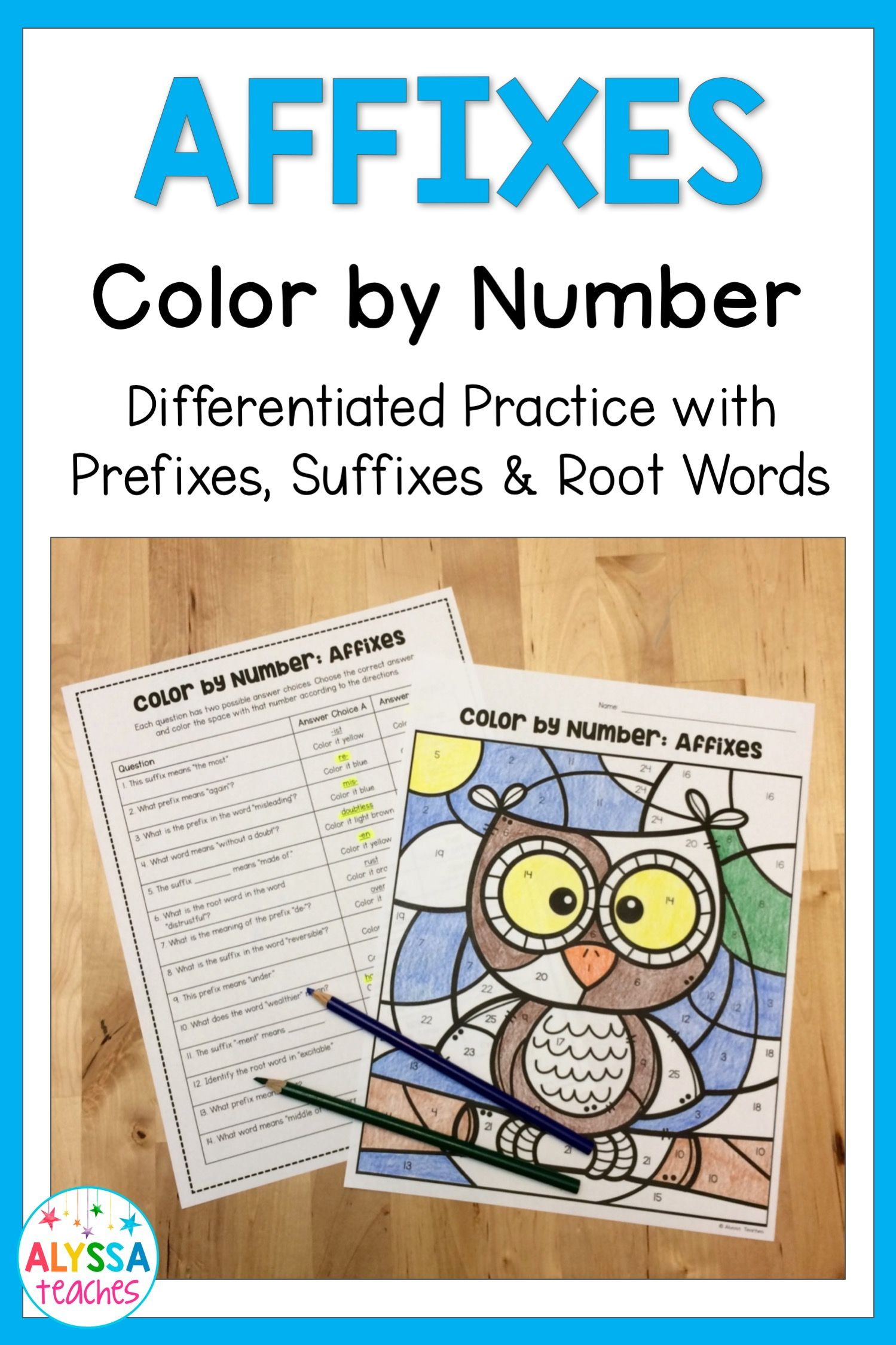 Affixes Color By Number Prefixes Suffixes And Root