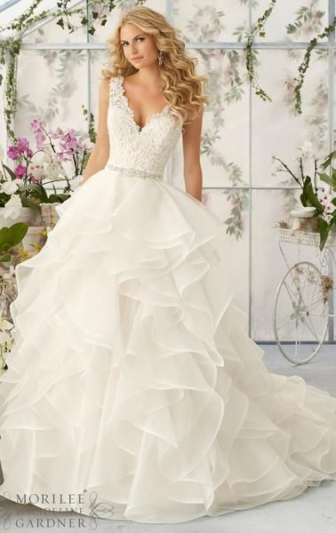 L112 Sexy V Neck Lace Top Wedding Dresses, Charming Layers Wedding ...