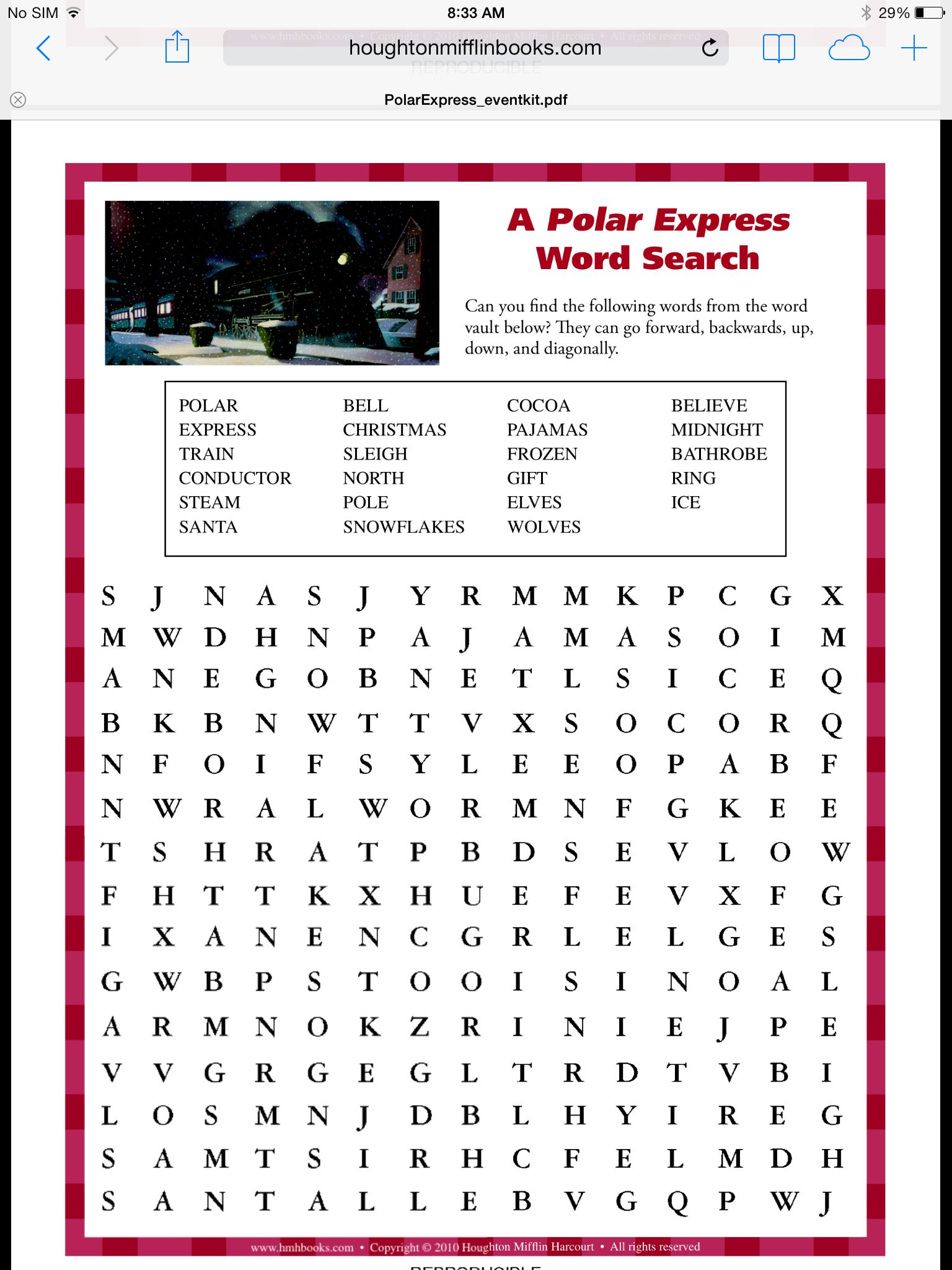 Polar Express Word Search