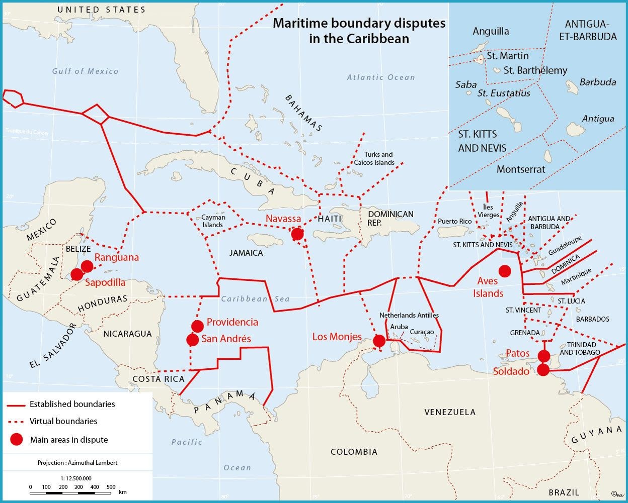 Maritime Boundary Disputes In The Caribbean By Lariviere Map Caribbean Ocean