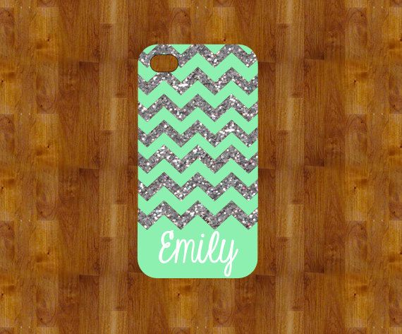Mint sparkly - NOT REAL GLITTER - Personalized iPhone case - iPhone 4/5 case - Monogram iPhone case - stocking stuffer - christmas gift on Etsy, $16.99