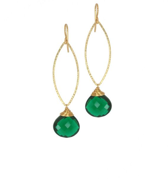 """BonBon by Micah Yancey 14 karat gold filled earrings with Green Quartz heart cut gemstones and French earwires.  """"Number One Stunner"""""""