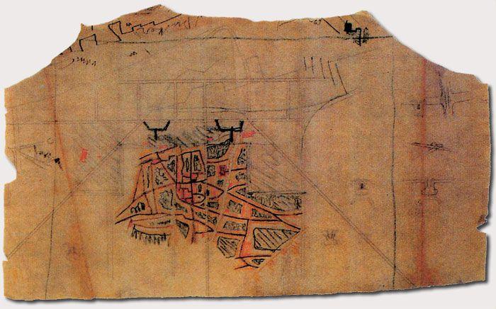 Estudi de Le Corbusier del barri antic de Barcelona L'Ajuntament i la Generalitat van encomanar a Le Corbusier un nou pla d'eixample per a la ciutat conegut com el Pla Macià.