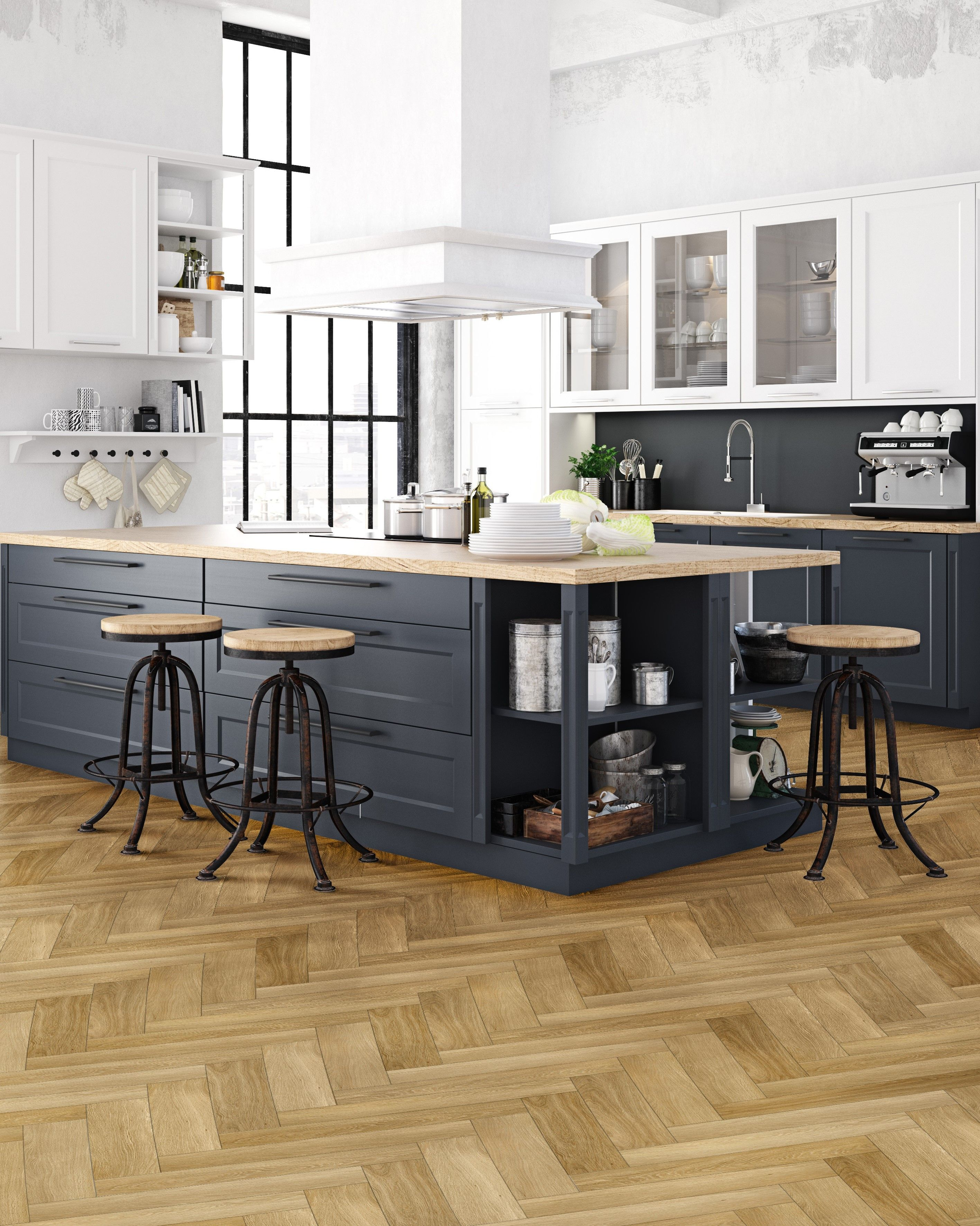 Vinyl Herringbone Flooring Ideas Open Kitchen in 2020