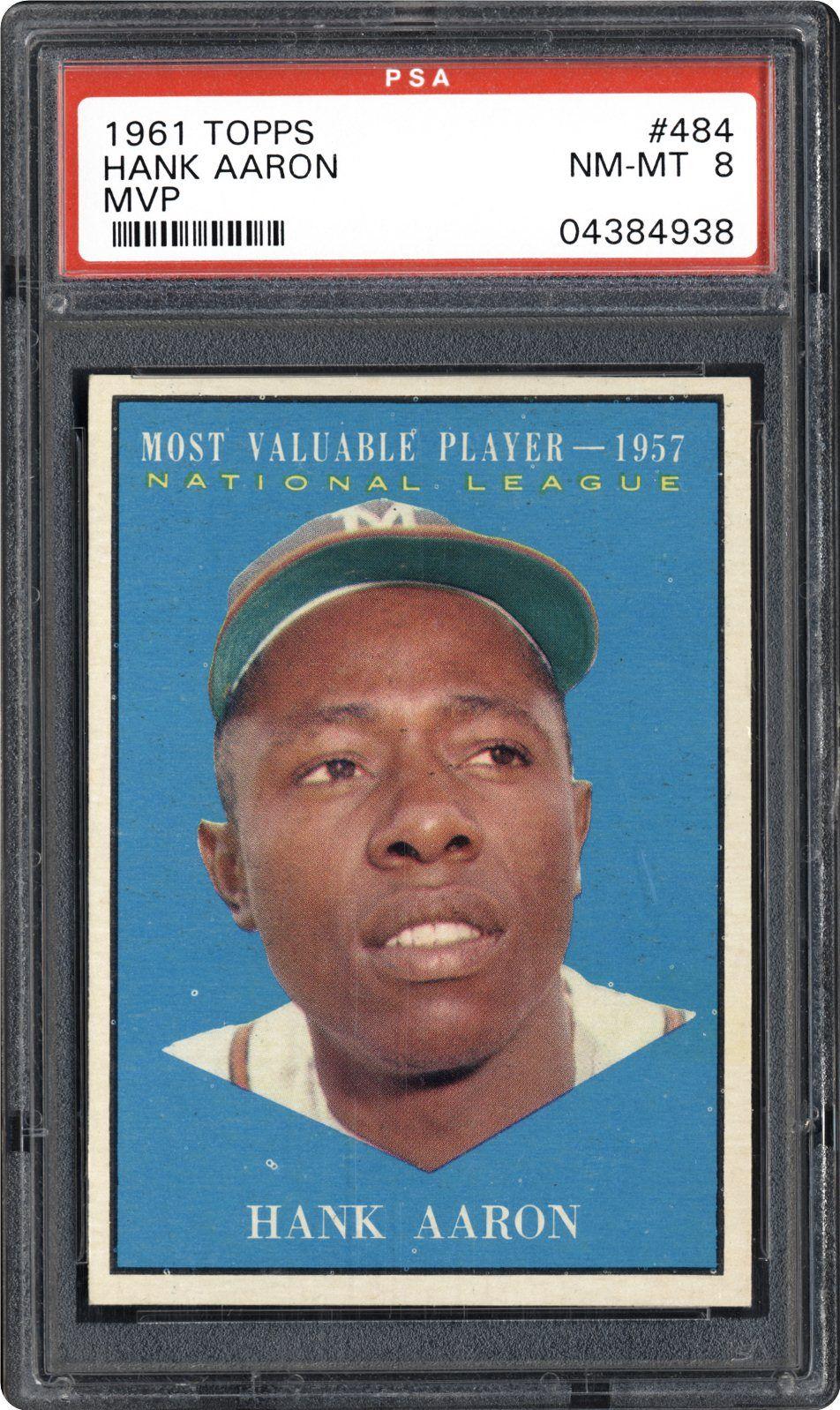 1961 topps 484 hank aaron mvp baseball cards braves