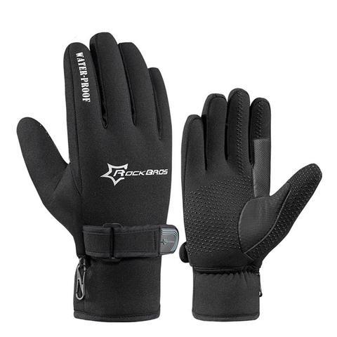 ROCKBROS Men Winter Cycling Full Finger Gloves Windproof Fleece Gloves Black