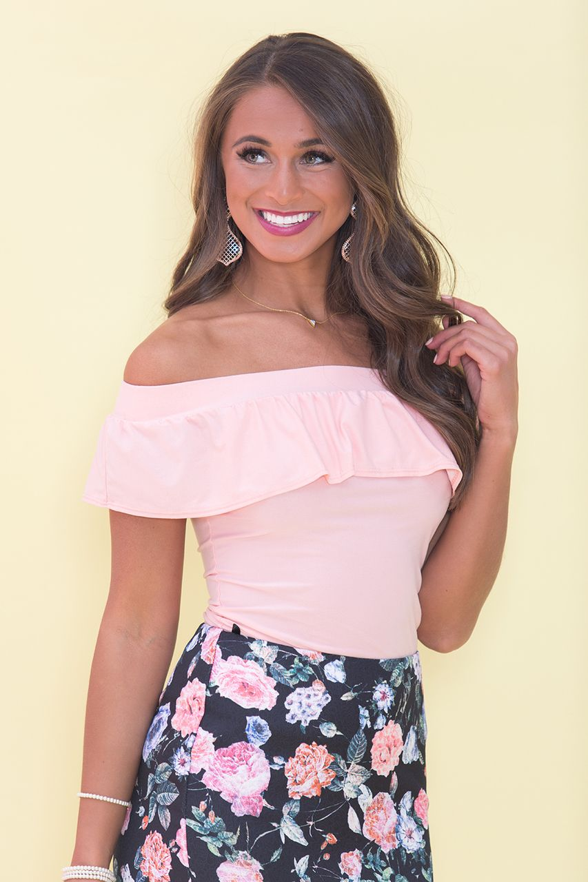 f71f08c954d Ruffle My Heart Blouse Peach | Clothes | Blouse, Pink lily, Fashion