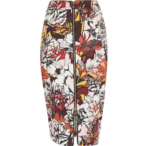 b7c3f0e0d2 River Island Red graphic print zip front pencil skirt ($20) ❤ liked on  Polyvore featuring skirts, red, sale, women, floral knee length skirt, pencil  skirt, ...