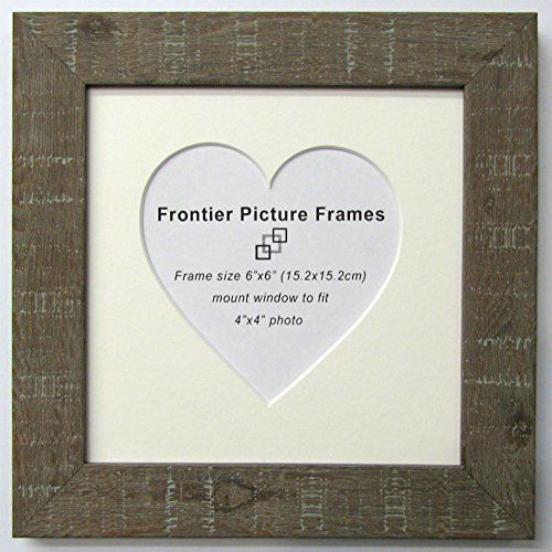 6x6 Brown Driftwood effect Heart Mount & Frame Frontier Picture ...