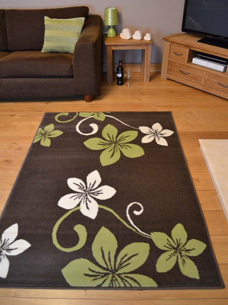 Trend Lime Green Brown And Off White Flower Design Rug 8 Sizes Available X