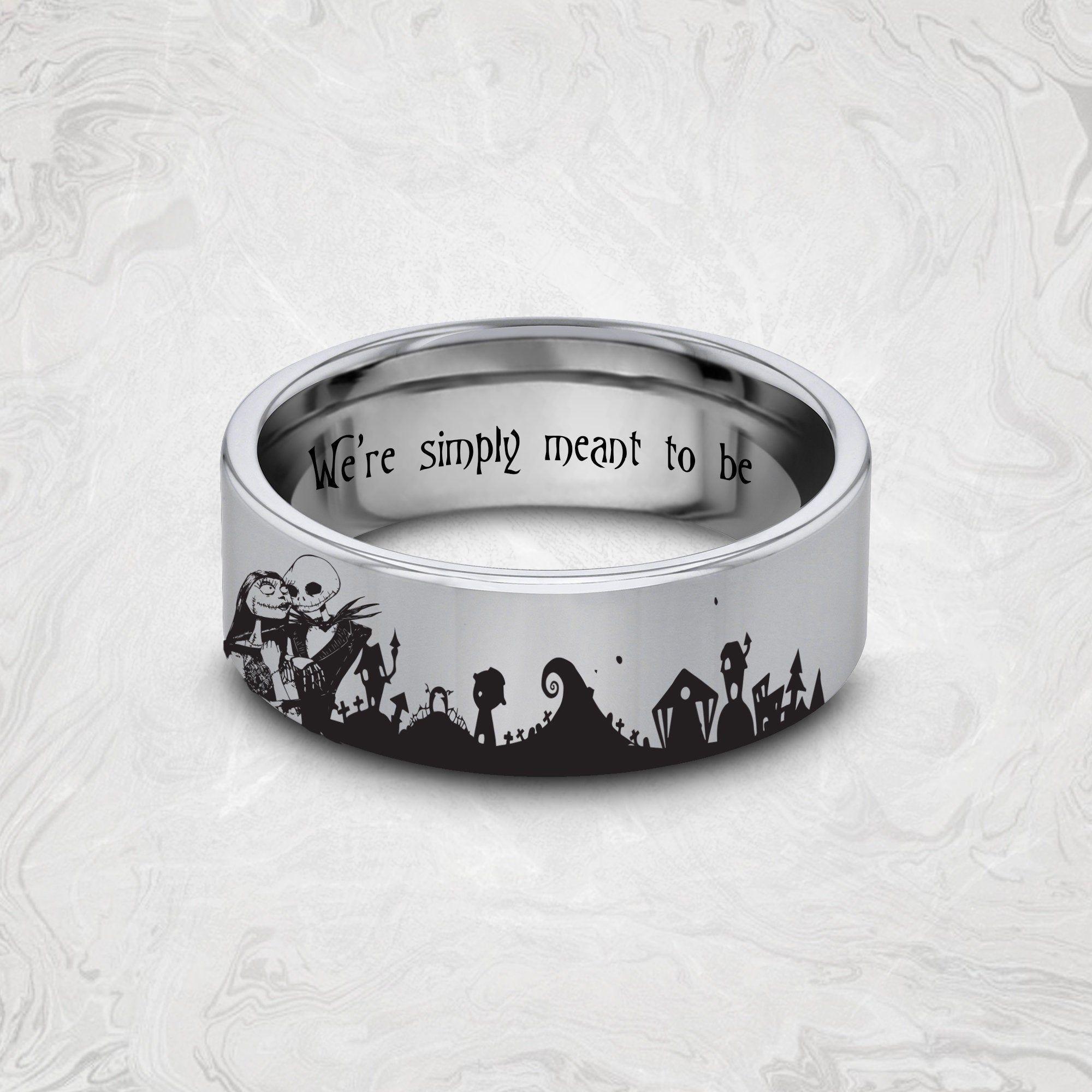Disney Engagement Ring Jack And Sally Wedding Ring Nightmare Befo In 2020 Disney Engagement Rings Nightmare Before Christmas Rings Nightmare Before Christmas Jewelry
