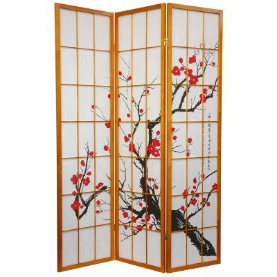 Oriental Furniture Flower Blossom Honey Room Divider - SS-BLOSSOM-HONEY-3P, Durable
