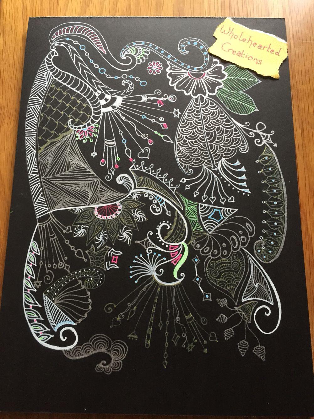 Zen doodle colour - Zentangle Zia Zenspiration Colour Doodle Black Paper Wholehearted By Melissa