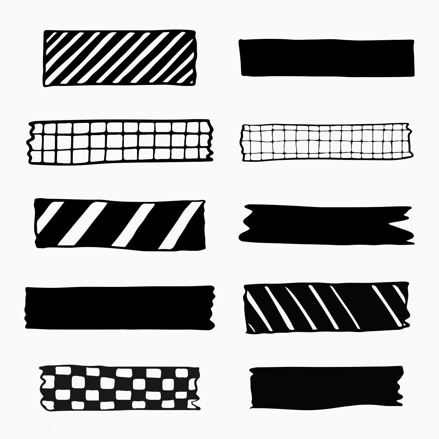 Download Premium Vector Of Collection Of Washi Tape Vectors 2100800 Washi Tape Tape Pattern Washi