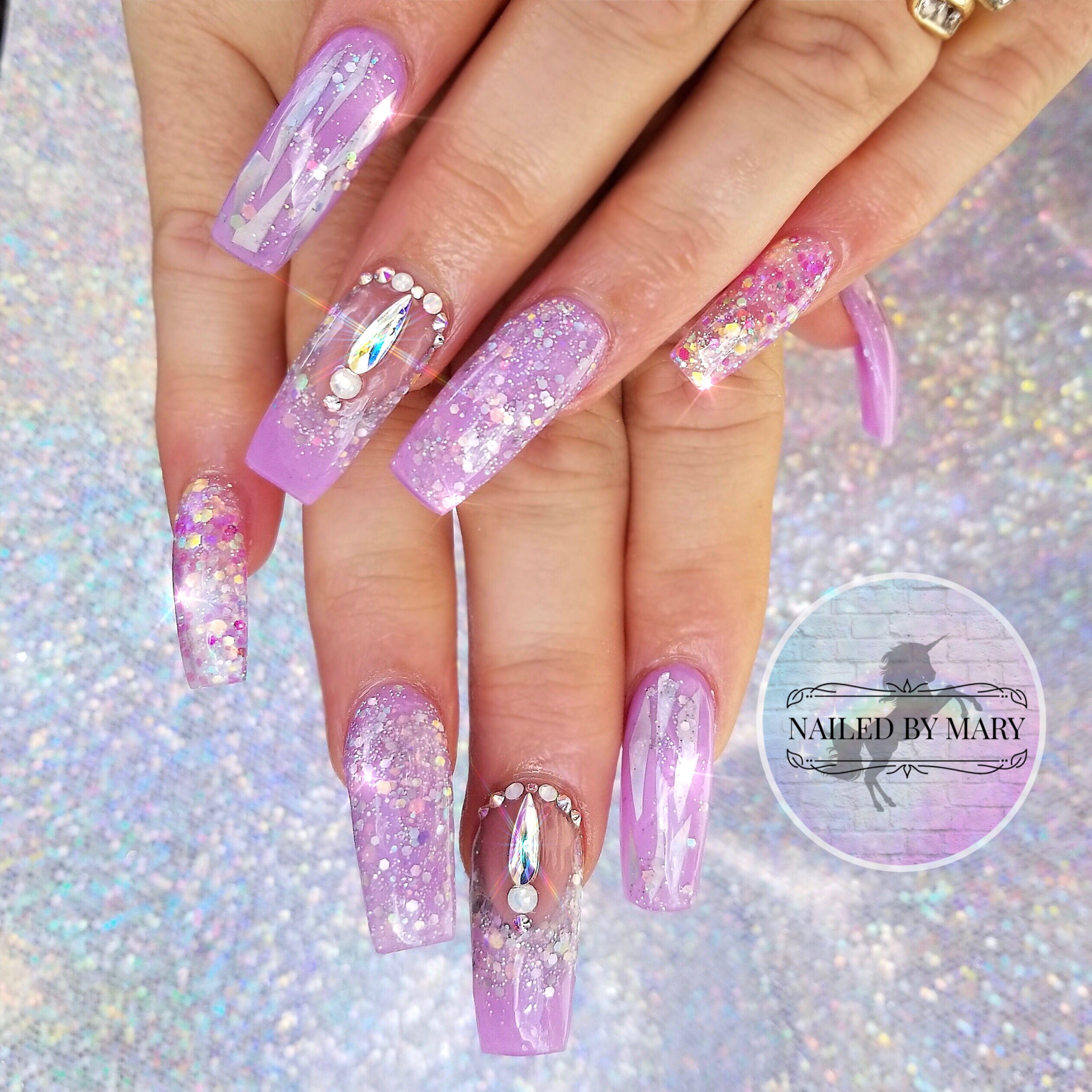 Nails nailart cute nails love acrylic Swarovski crystals lavender ...