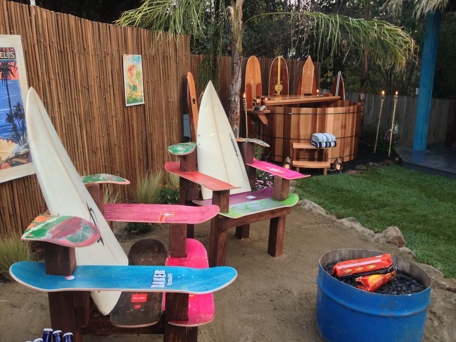 black bamboo fencing for this surf themed backyard bamboo