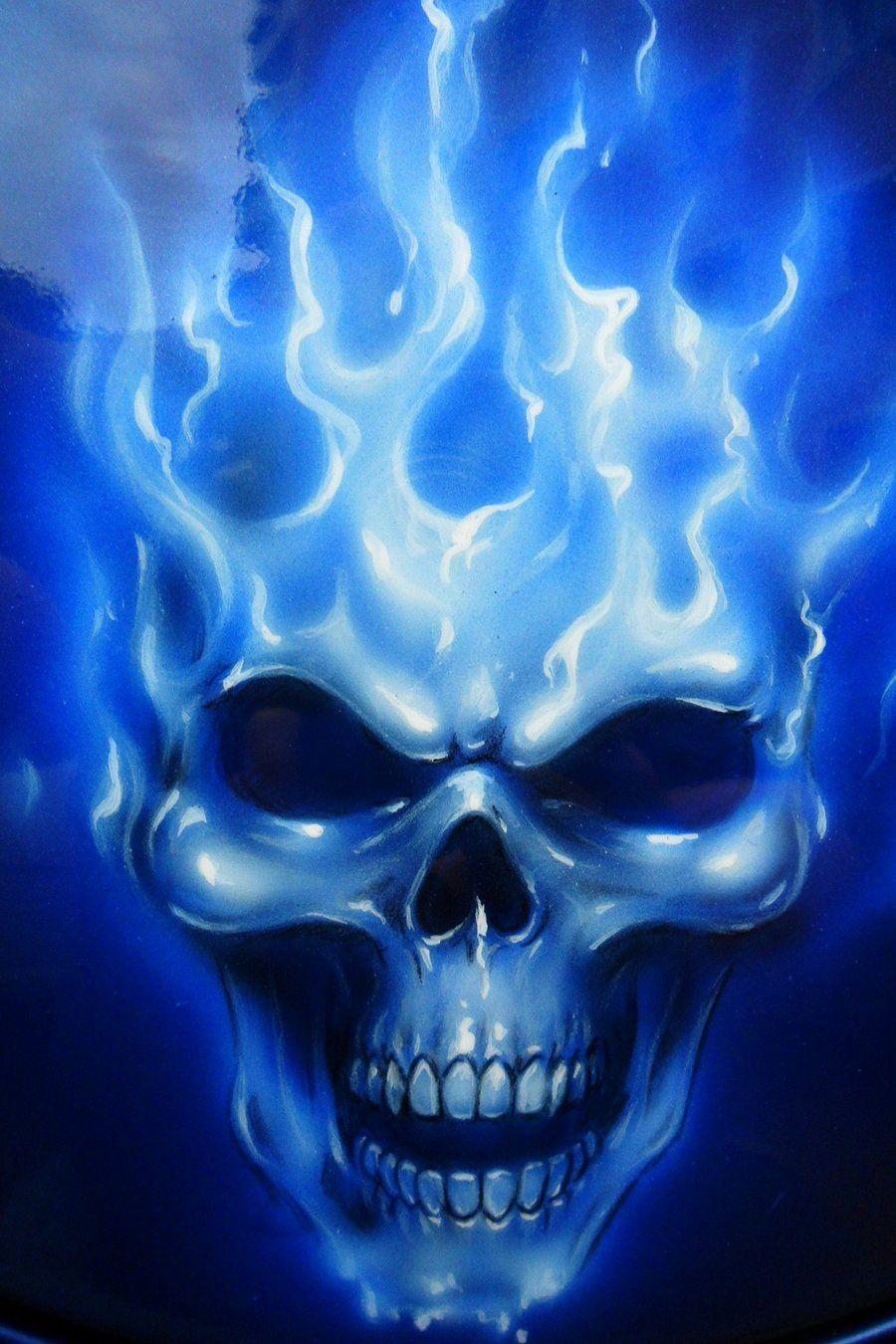 Cool Skull For Blue Bike Airbrush Skull Skulls Drawing Blue Flame Tattoo