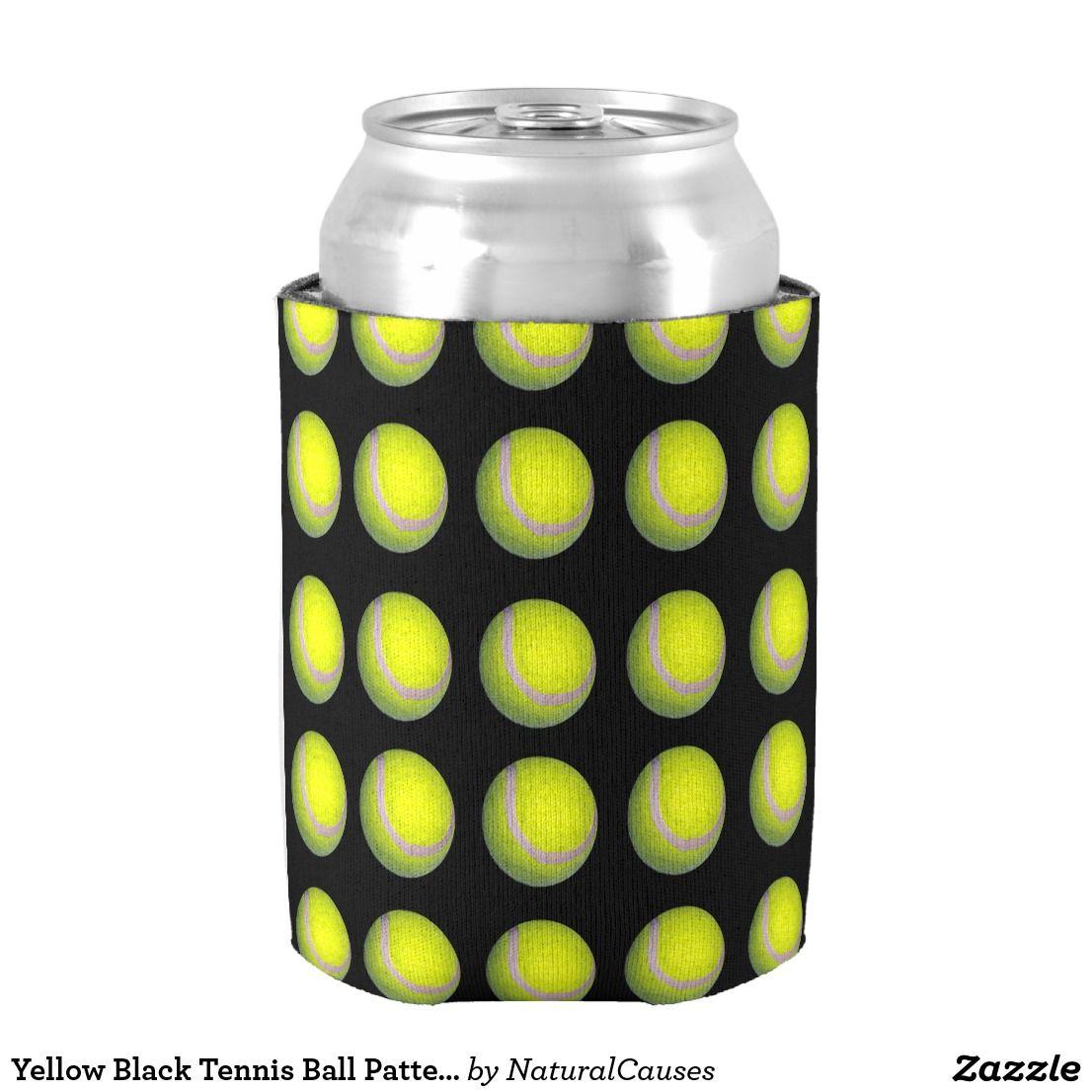 Yellow Black tennis Ball Pattern, Can Cooler cooler