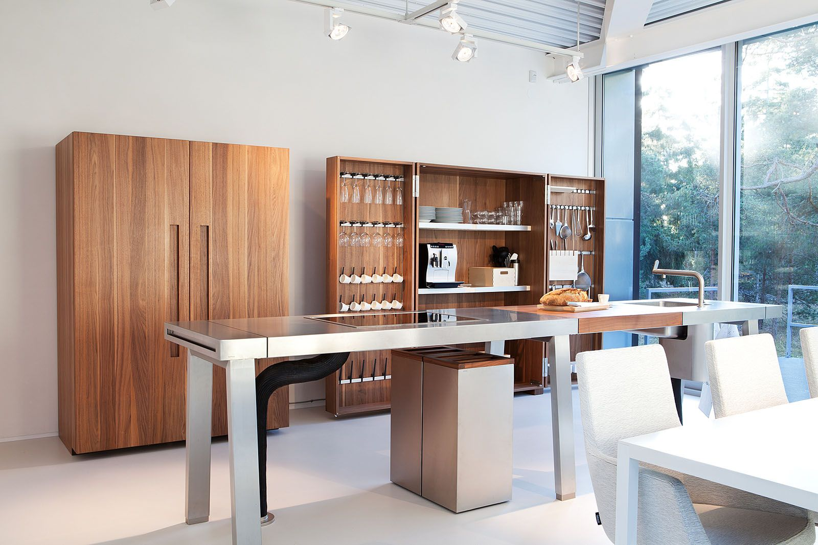 Modern kitchen wood stainless steel open spaces shelving