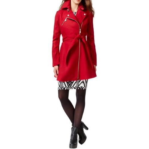 BCBGeneration Womens Asymmetrical Flared Coat, Size: Large, Red