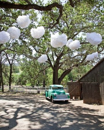 Hanging from trees by logdge    Many venues charge more for after-dark affairs. With an outdoor reception, if you opt for a luncheon event, you'll also cut back on or eliminate costs associated with lighting, such as setup and generators. These over-sized paper pom poms make just as big a statement as twinkling lights.