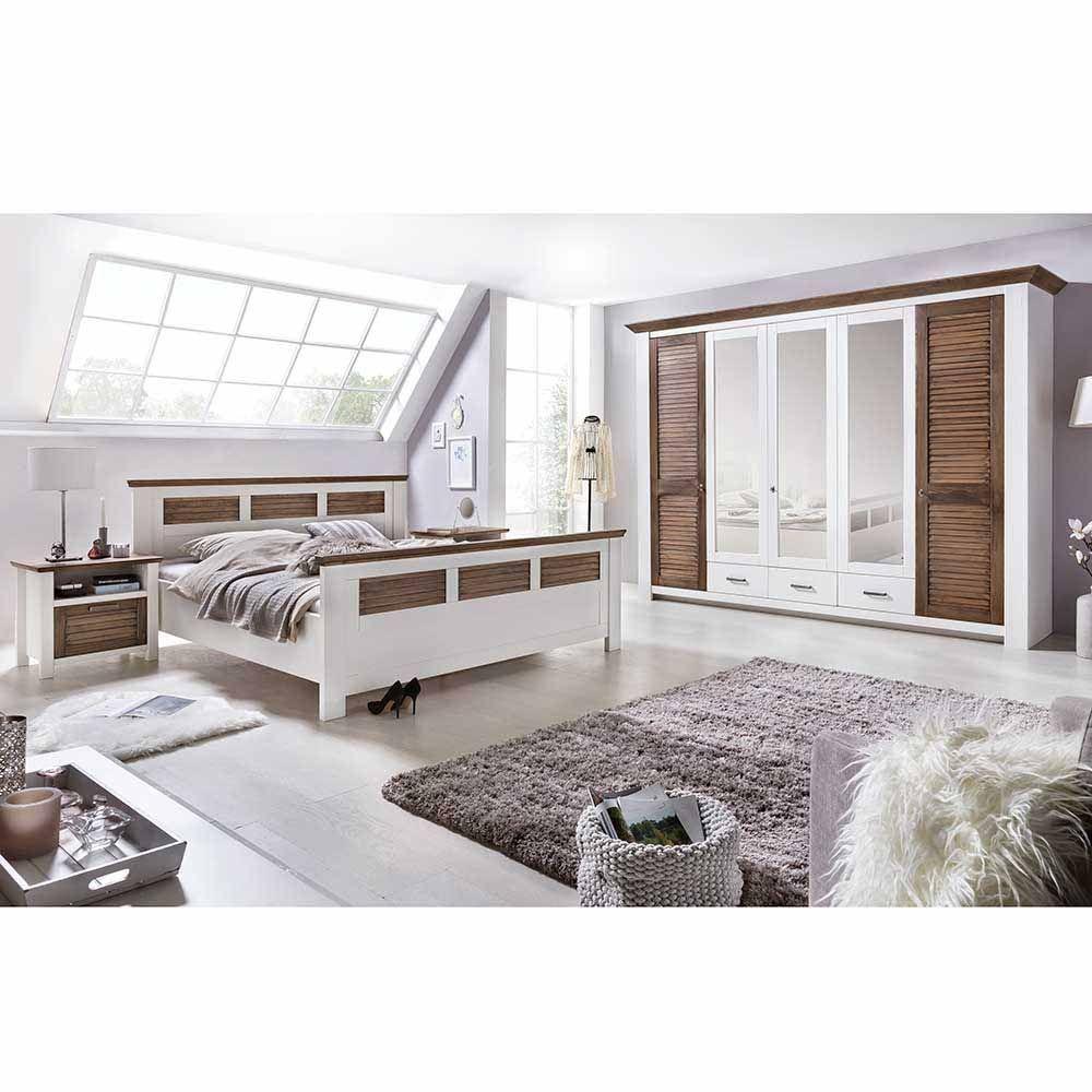 Schlafzimmer Komplettset in Weiß Kiefer Landhaus (4teilig