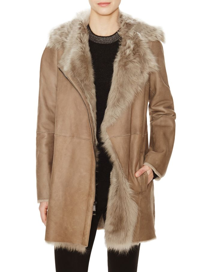 Asymmetrical Shearling Jacket from Vince on Gilt