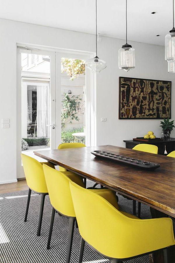 Esstisch stühle holz  esszimmertisch mit stühlen holz esstisch stühle gelb pendelleuchten ...