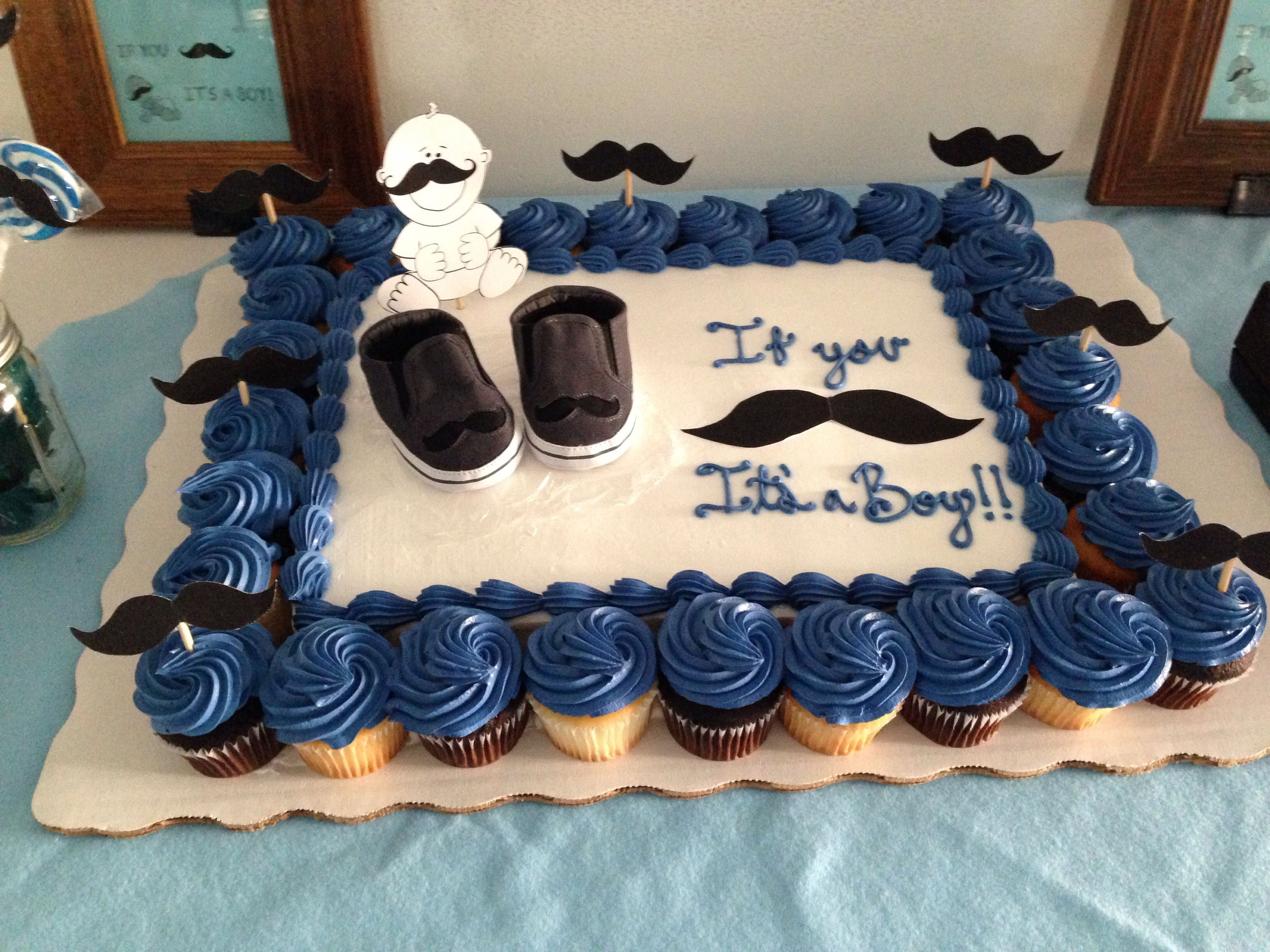 SAMs Club Sheet Cake With Target Baby Shoes And Cut Out Mustaches And Baby.  Sooo Much Cheaper Than Those Fondant Cakes!