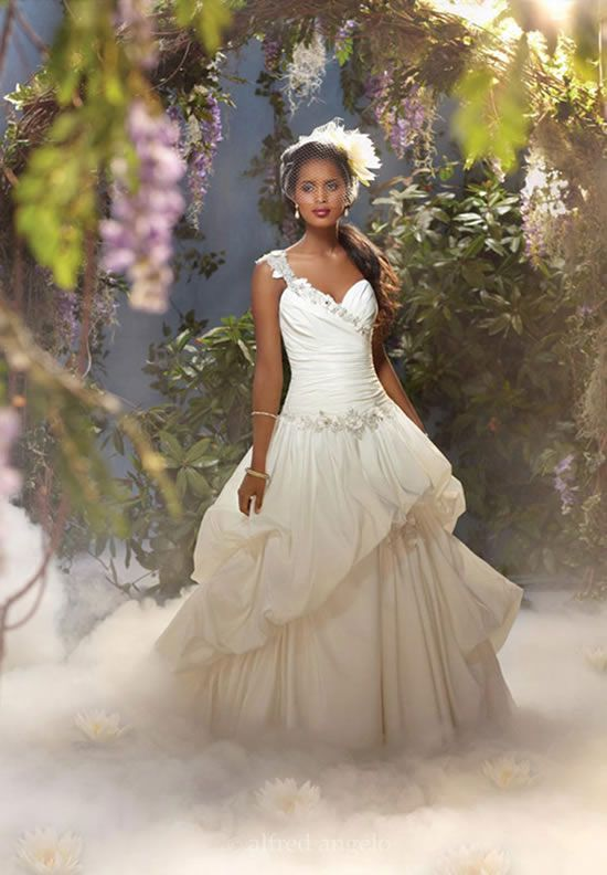 A Princess Tiana inspired magnificent one-shoulder wedding ball gown ...