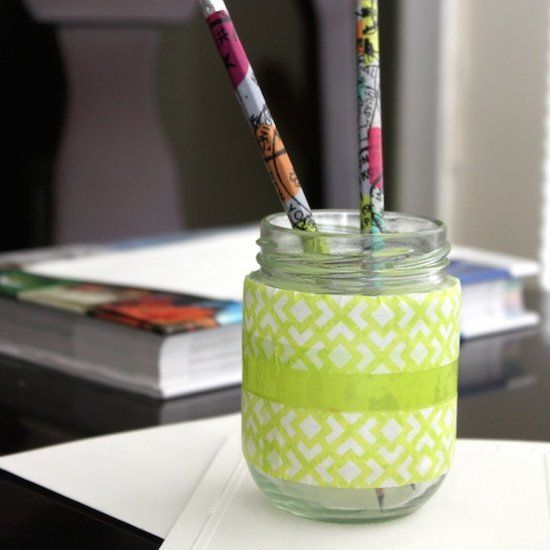 Easy to make decorative fun projects: Washi tape decorated pencil and Tape decorated Stationary Holder