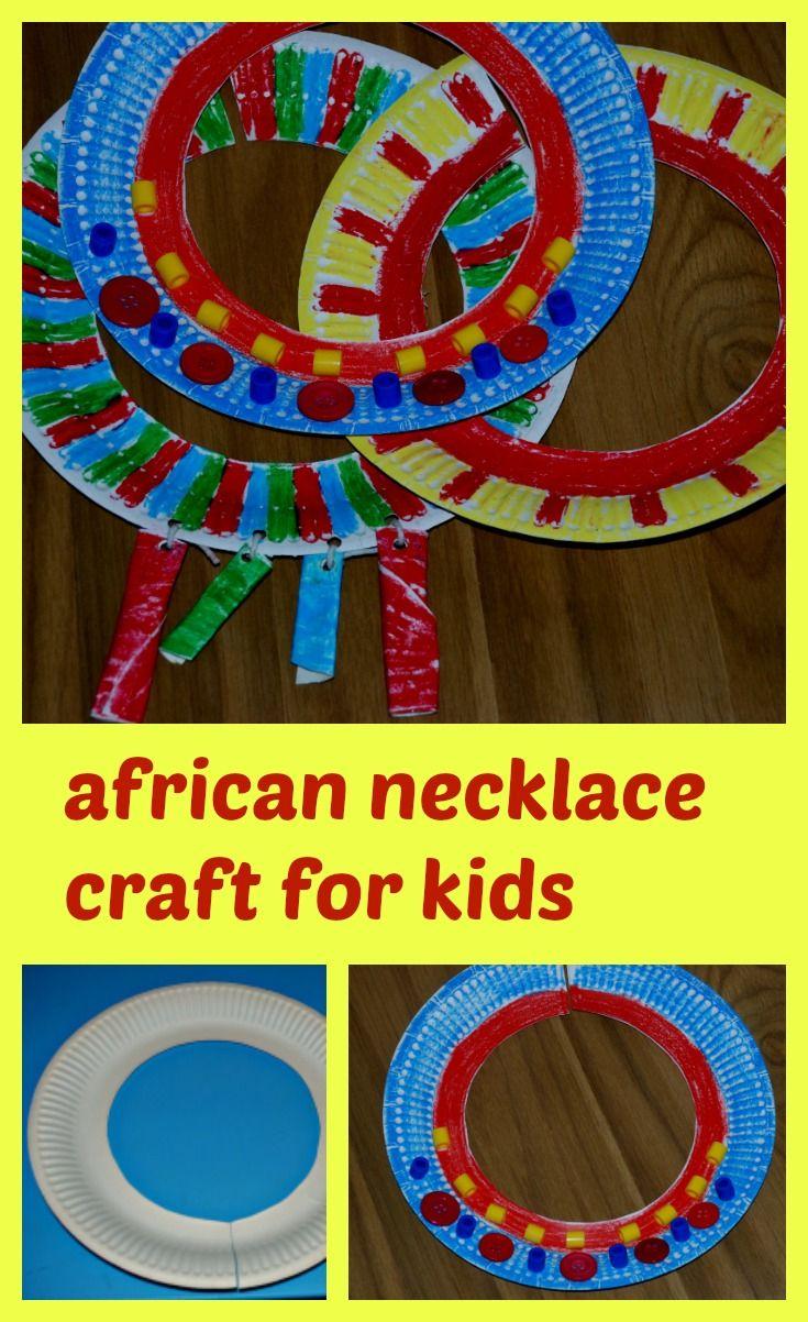 African Necklace Craft For Kids Kenya Educacion Ninos Arte