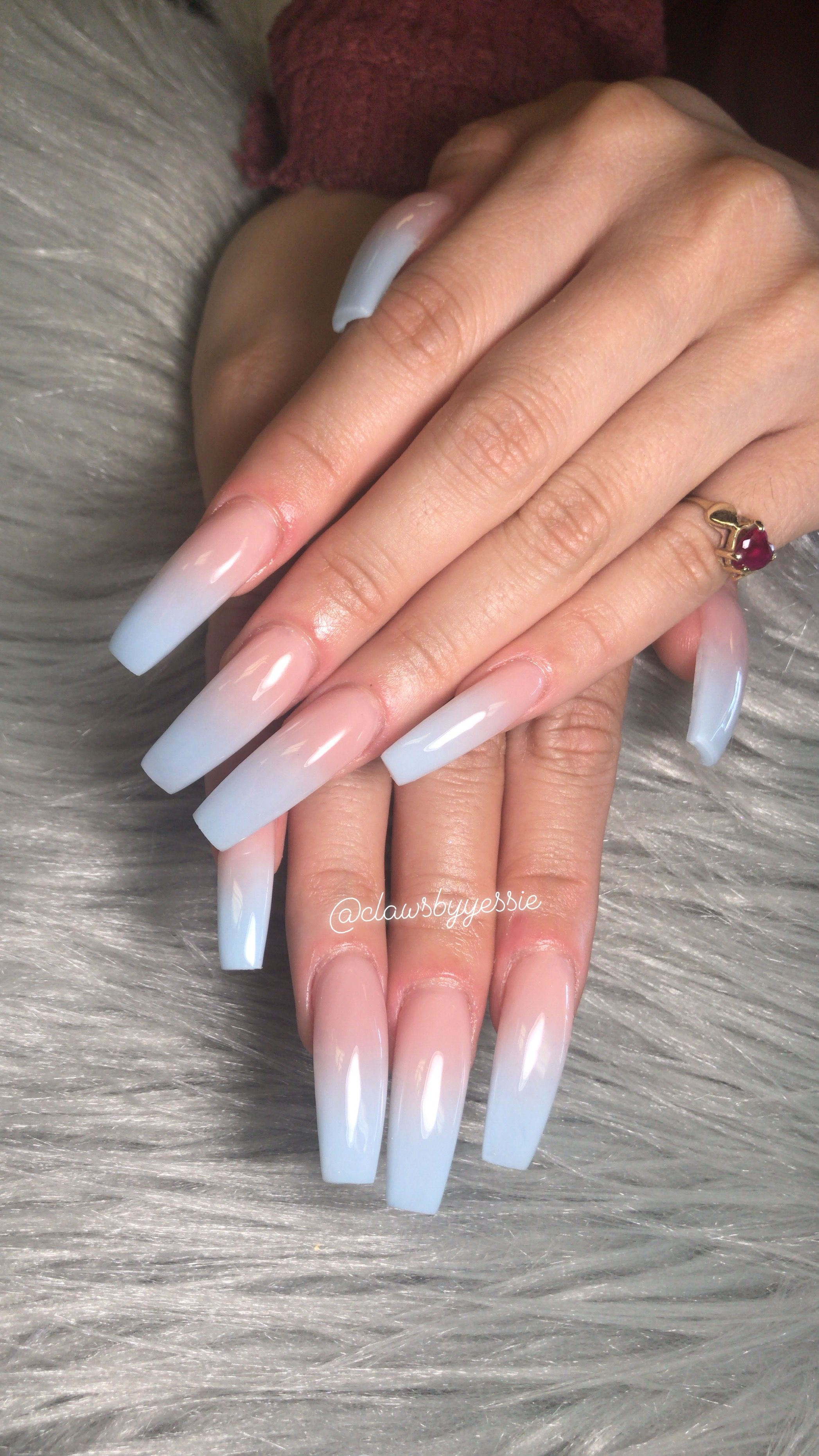 Light Blue Acrylic Nails Flame