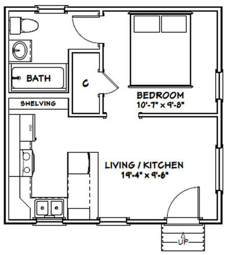 20x20 Tiny House 1Bedroom 1Bath 400 sq ft PDF