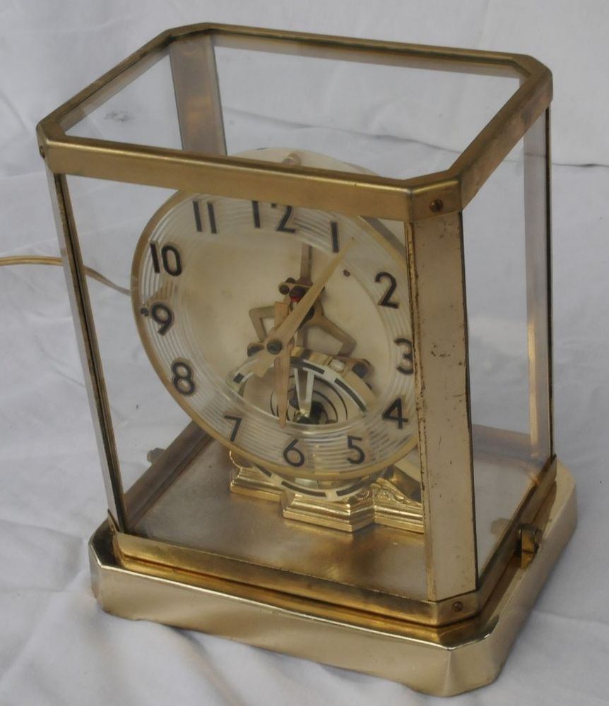 antique ART DECO united GLASS CASE mantle clock STREAMLINE RINGS ...