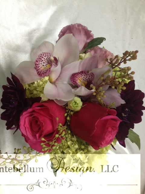 Blush Hot Pink And Fuchsia Bouquet With Wedding Flowers Like Orchids Dahlia