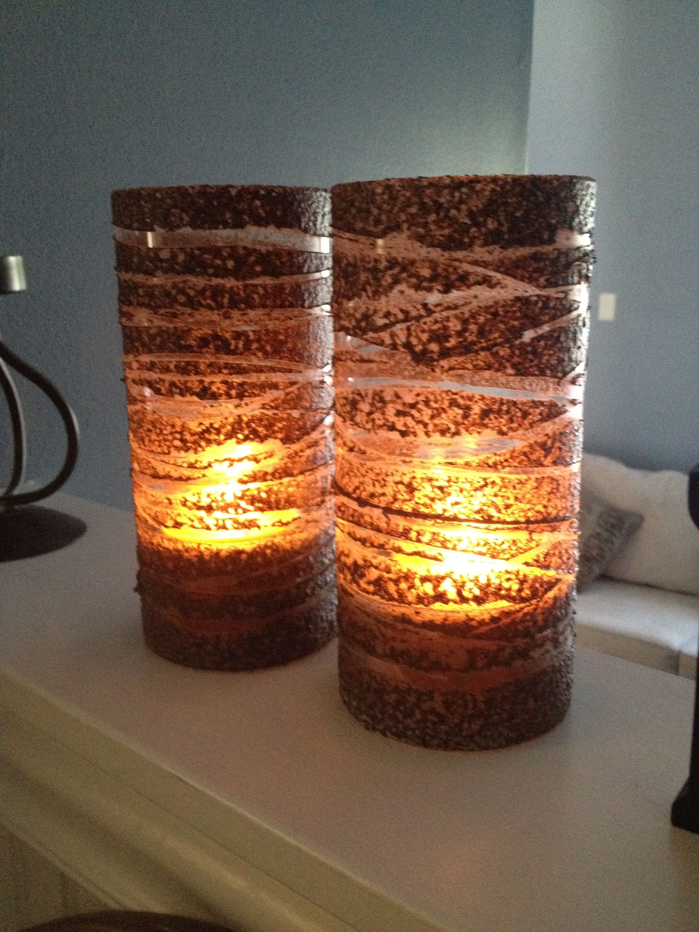 Dollar Store Glass Vases Spray Painted Sand Stone Brown