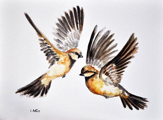 Oiseaux Aquarelle Peinture Originale Deux Sparows Oiseaux