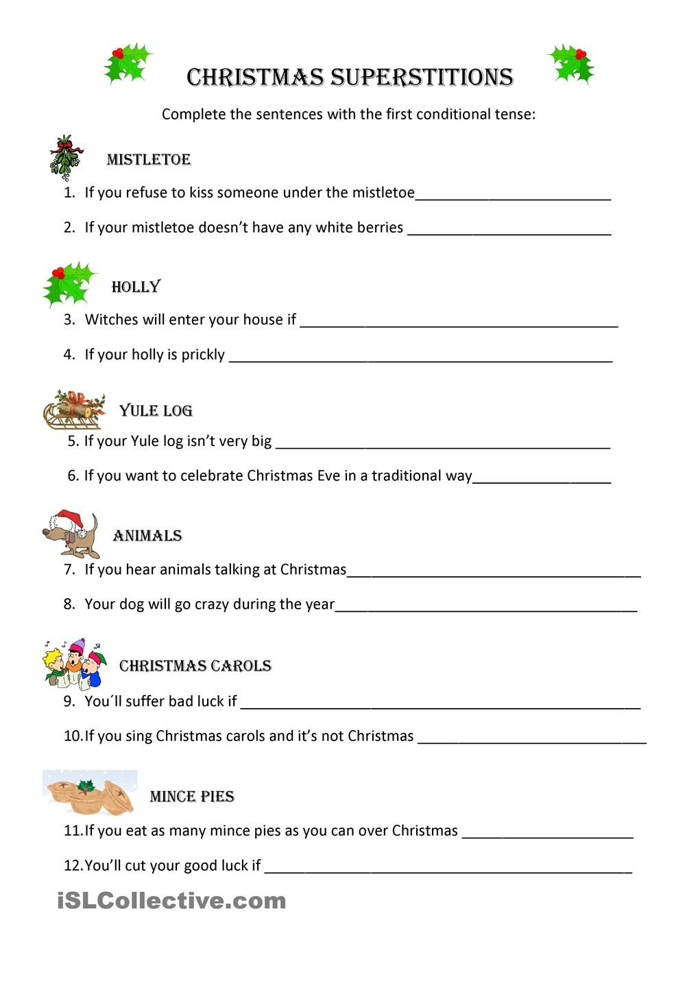 Christmas Superstitions Christmas Worksheets Superstition Teaching English [ 1440 x 1018 Pixel ]