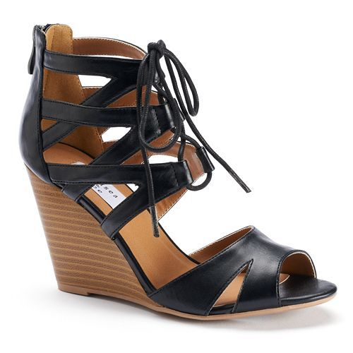 Chelsea Zoe Alana Womens Strappy LaceUp Wedge Sandals