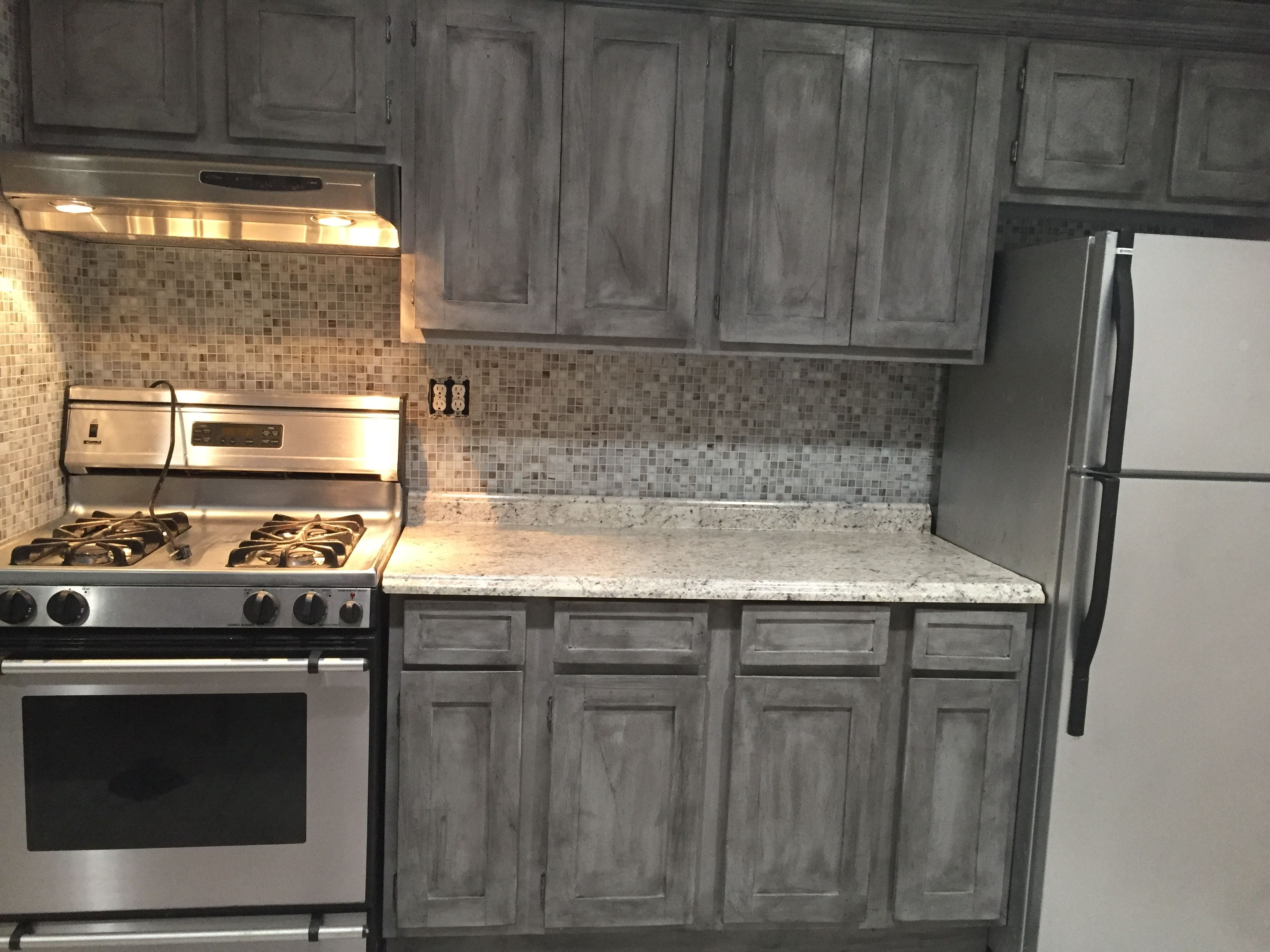 Annie Sloan Paris Grey With Black Wax On Kitchen Cabinets Rustic