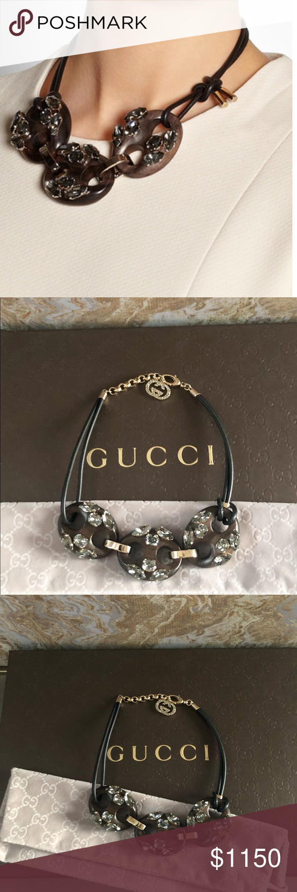 885b21efb Gucci Marina Crystal Embellished Wood Tie Necklace Rare Gorgeous authentic  Gucci statement necklace. Featuring gold