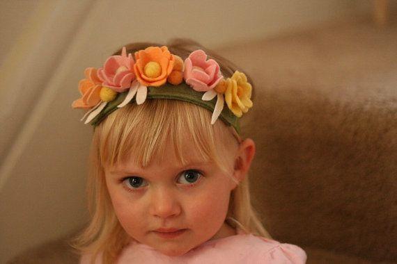 Beltane - Flower Fairy Crown - Felted Wool Headband - Wreath