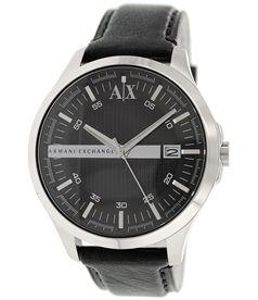 6b93a9d73be Armani Exchange Men s AX2101 Black Leather Quartz Watch